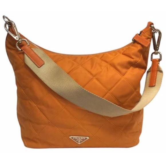 02160c369e8b PRADA orange quilted nylon shoulder bag purse. M_5c3e64173e0caa40ca2a6735